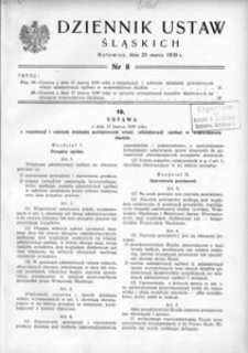 Dziennik Ustaw Śląskich, 25.03.1939, [R. 18], nr 8