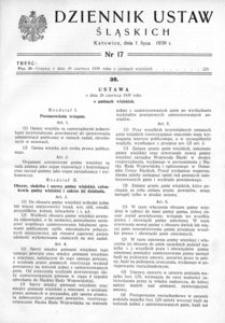 Dziennik Ustaw Śląskich, 01.07.1939, [R. 18], nr 17