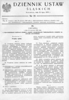 Dziennik Ustaw Śląskich, 15.07.1939, [R. 18], nr 19