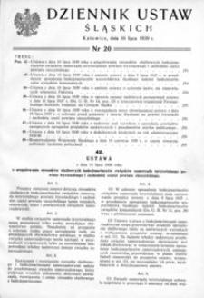 Dziennik Ustaw Śląskich, 16.07.1939, [R. 18], nr 20