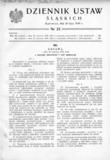 Dziennik Ustaw Śląskich, 20.07.1939, [R. 18], nr 22