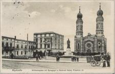 """""""Myslowitz. Wilhelmsplatz mit Synagoge u. Denkmal Kaiser Friedrich III"""""""
