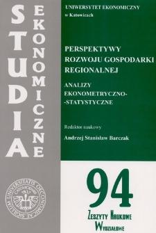 Perspektywy rozwoju gospodarki regionalnej: analizy ekonometryczno-statystyczne