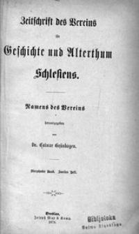Zeitschrift des Vereins für Geschichte und Alterthum Schlesiens, 1879, Bd. 14, H. 2