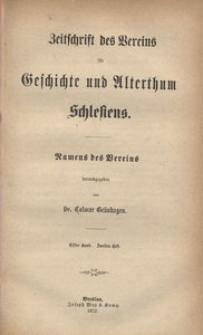 Zeitschrift des Vereins für Geschichte und Alterthum Schlesiens 1872, Bd. 11, H. 2