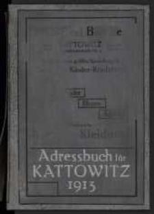 1913, Adreßbuch für Kattowitz, Schloß Kattowitz, Brynow, Hohenlohehütte, Domb, Bogutschütz-Zawodzie, Gieschewald, Laurahütte, Siemianowitz, Zalenze, Ellgoth-Idaweiche. Unter Benutzung amtlicher Quellen. 1913