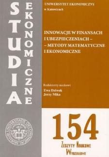 Innowacje w finansach i ubezpieczeniach – metody matematyczne i ekonometryczne