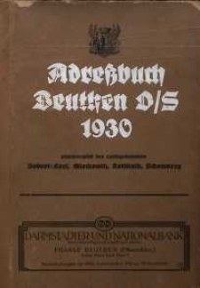 Adreßbuch Beuthen O/S. 1930. Einschliesslich der Landgemeinden Bobrek-Karf, Miechowitz, Rokittnitz, Schomberg