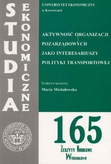 Aktywność organizacji pozarządowych jako interesariuszy polityki transportowej