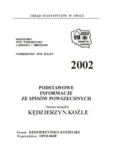 Podstawowe informacje ze spisów powszechnych. Gmina miejska Kędzierzyn-Koźle , powiat kędzierzyńsko-kozielski, województwo opolskie